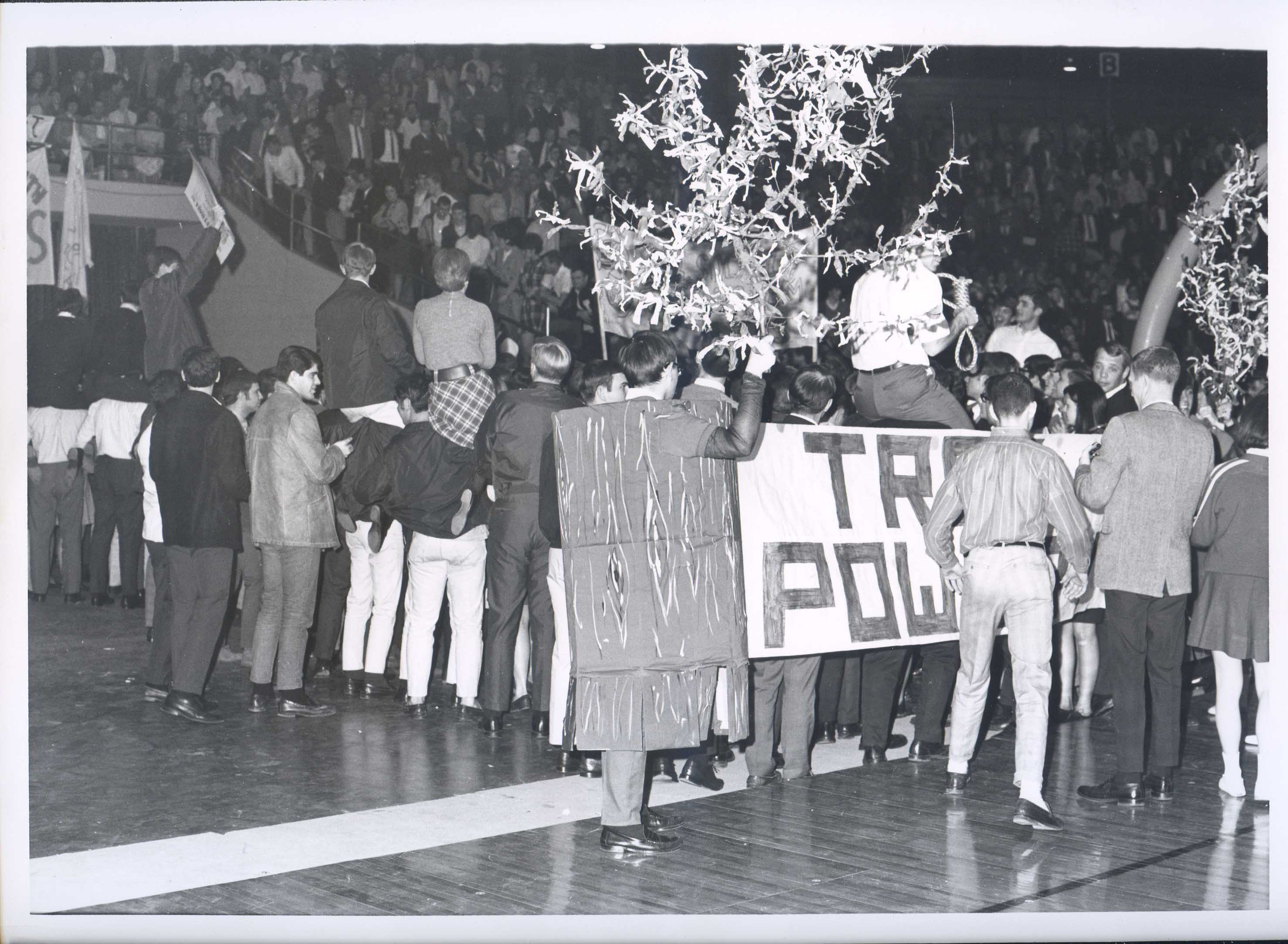 """Tree mascot and crowd holding """"Tree Power"""" sign and tree branches"""