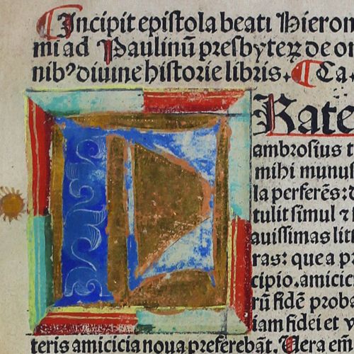 Color, squared off illuminated letter