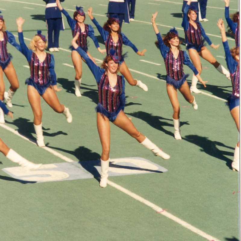 Sparkettes perform during football game with band, no date