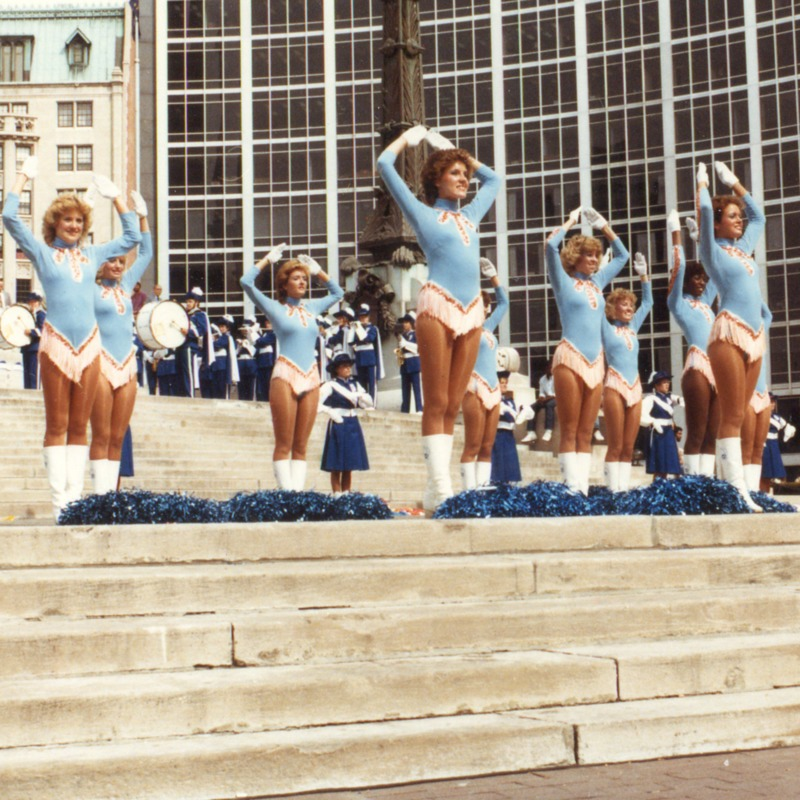Sparkettes perform on steps, no date