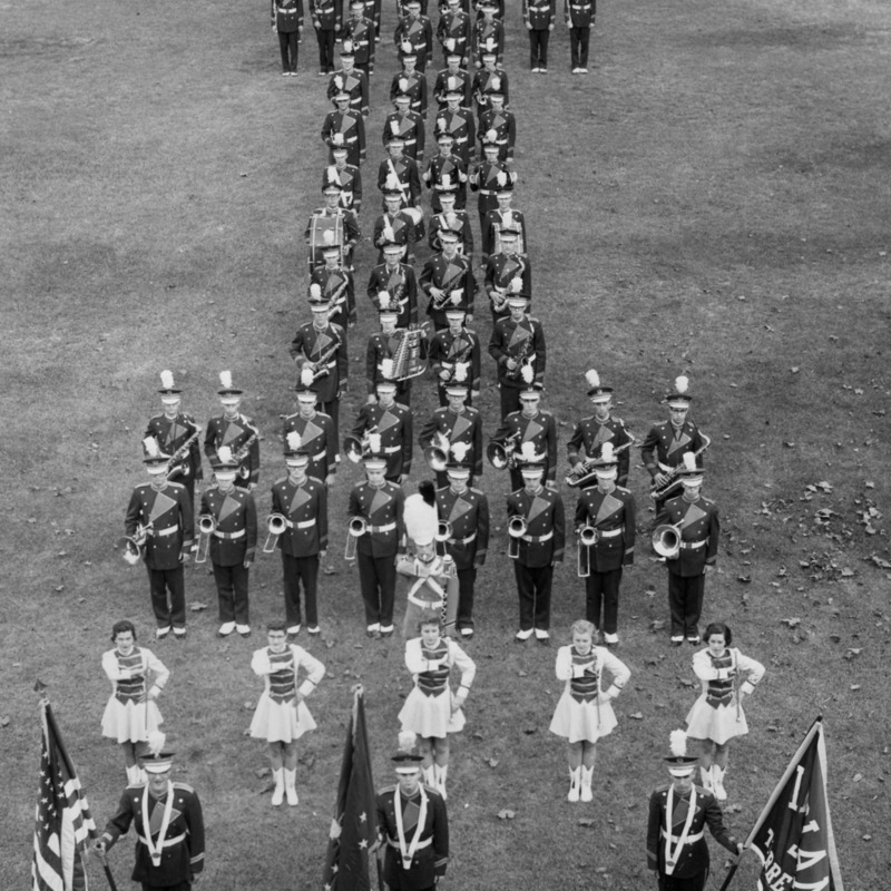 Marching band in I formation, circa 1940s-1950s