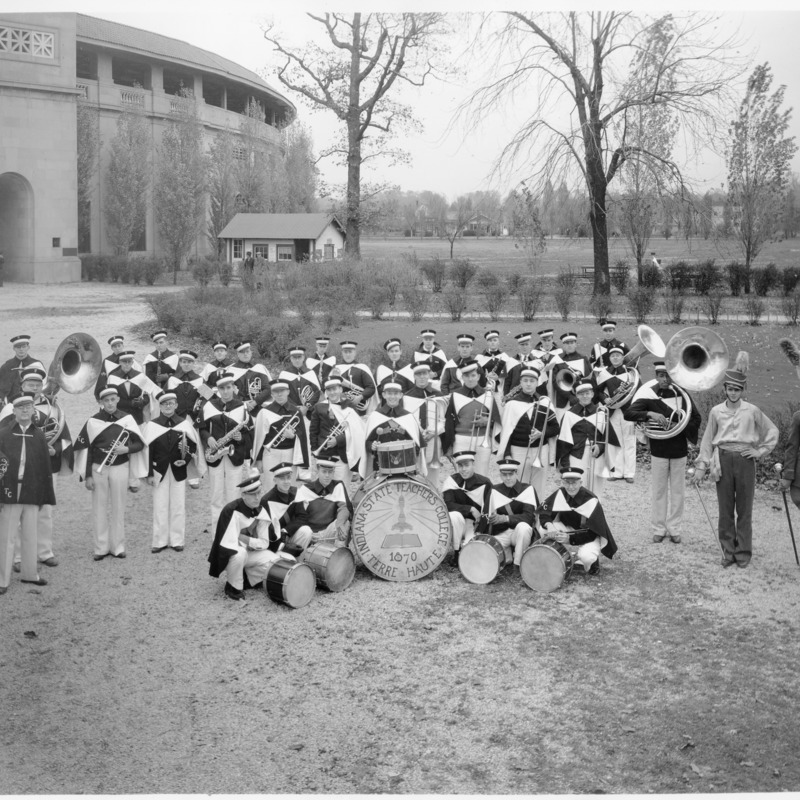 Marching Band in front of the old Memorial Stadium