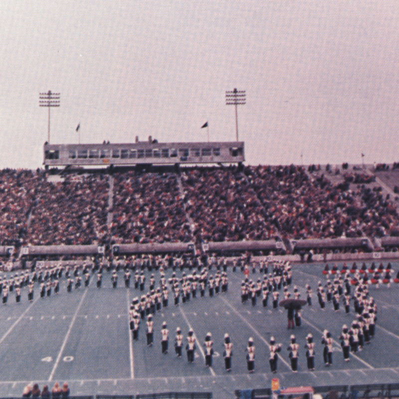 Marching Band formation on Football field.