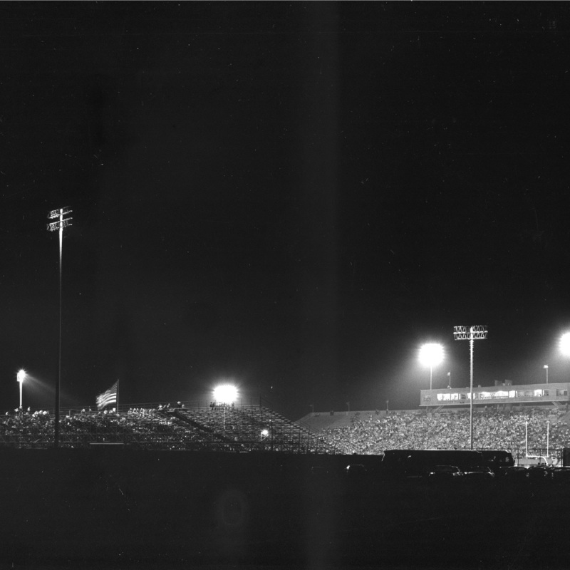 Memorial stadium at night