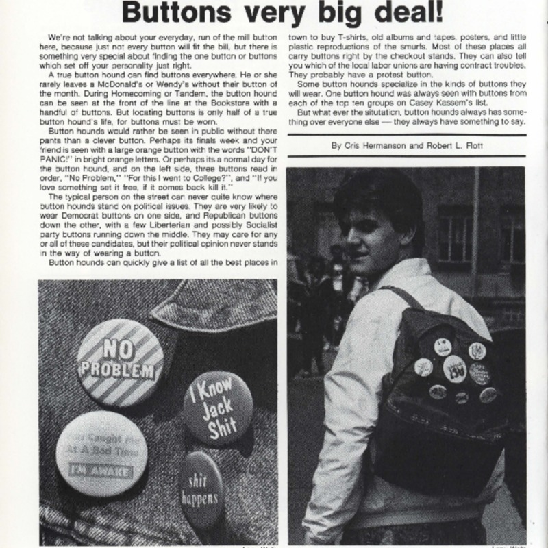 Yearbook article on buttons