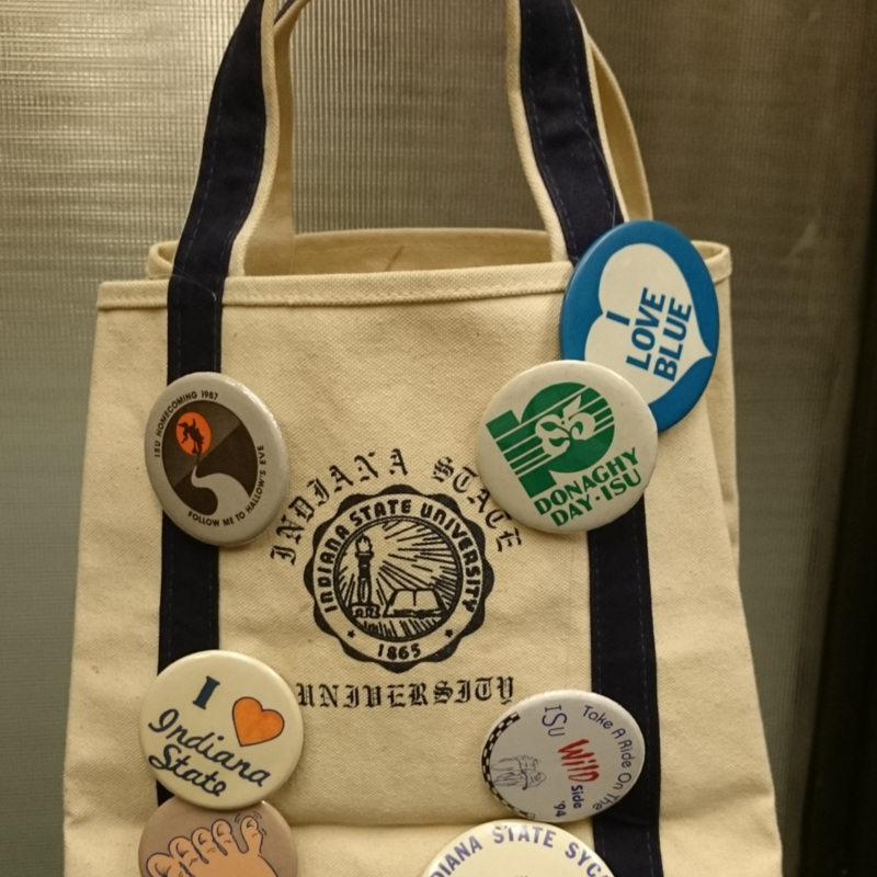 Indiana State University bag with various buttons