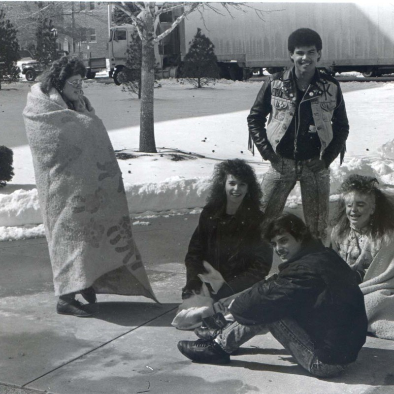 Students waiting outside in the cold