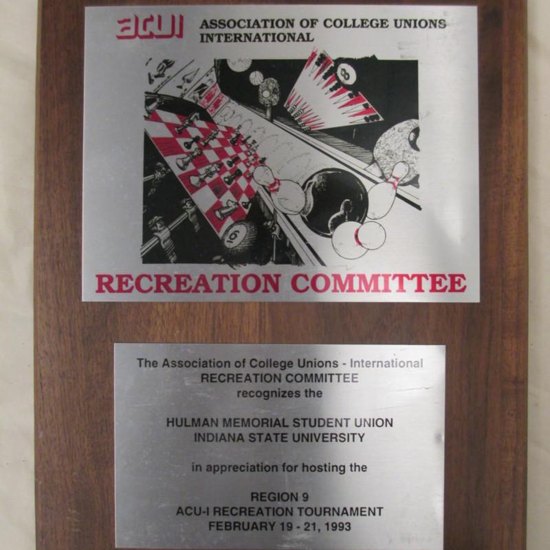 [Recognition plaque for hosting ACU-I Recreation Tournament]