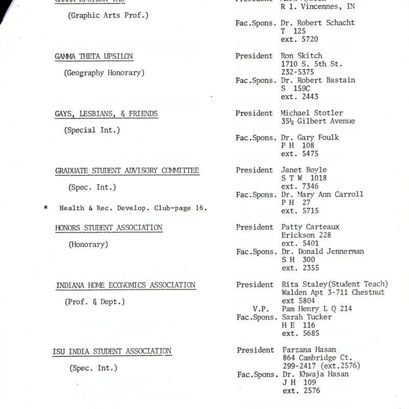 Student Organization Directory