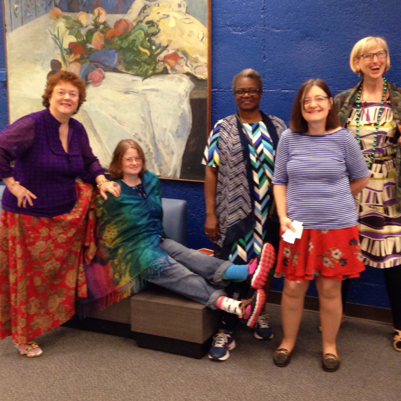 Cunningham Memorial Library Faculty and Staff dress for Clash Day