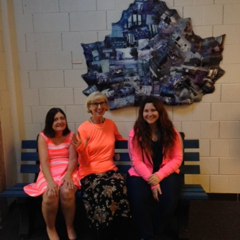 Cunningham Memorial Library- Staff and student dressed for Neon Day