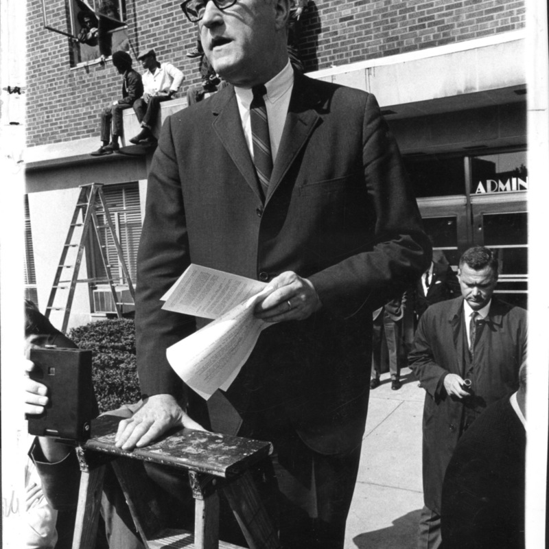 President Rankin outside the Administrative building during the May protest.