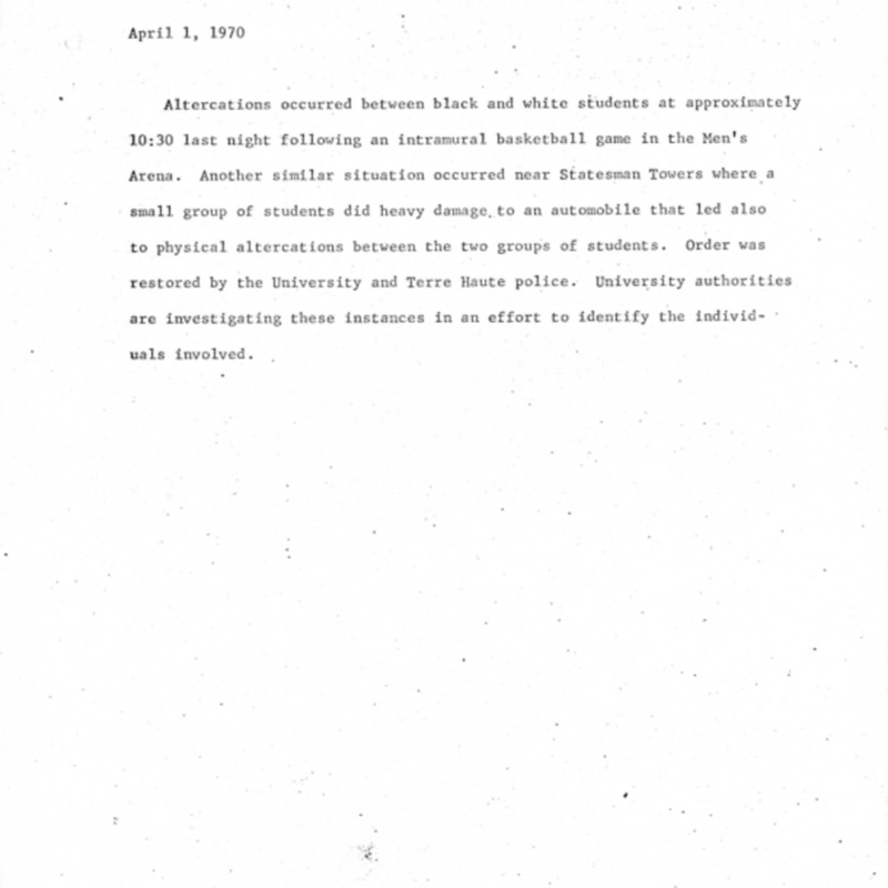 School notice on April 1970 riot