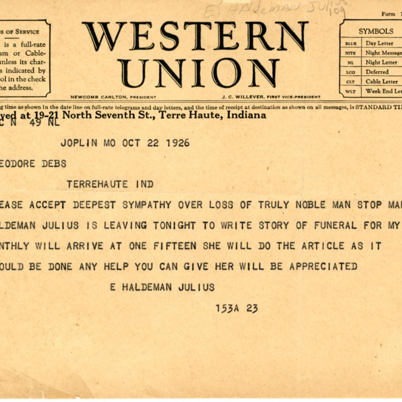 Emanuel Haldeman Julius. Telegram to Theodore Debs.