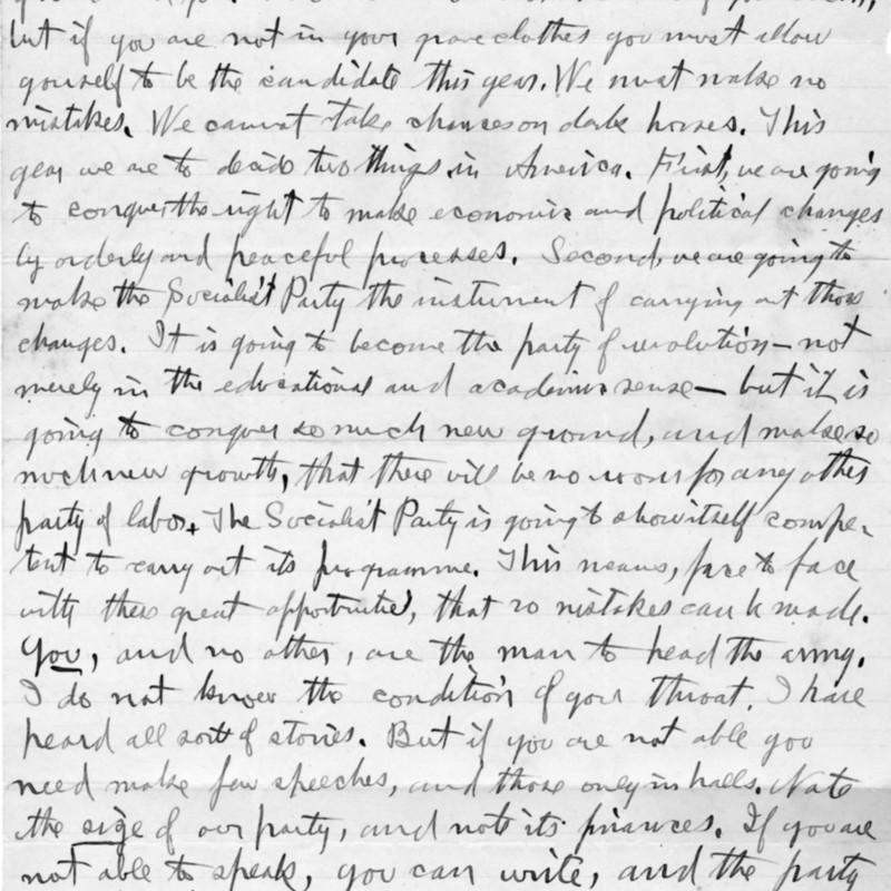 Ben Hanford.  Letter to Eugene V. Debs.