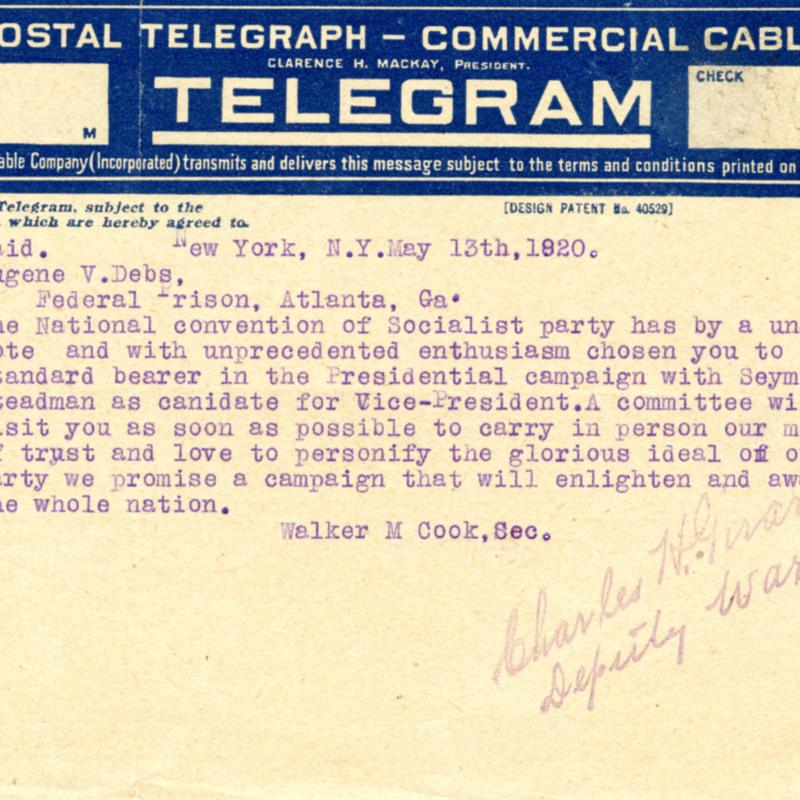 Walter M. Cook.  Telegram to Eugene V. Debs.