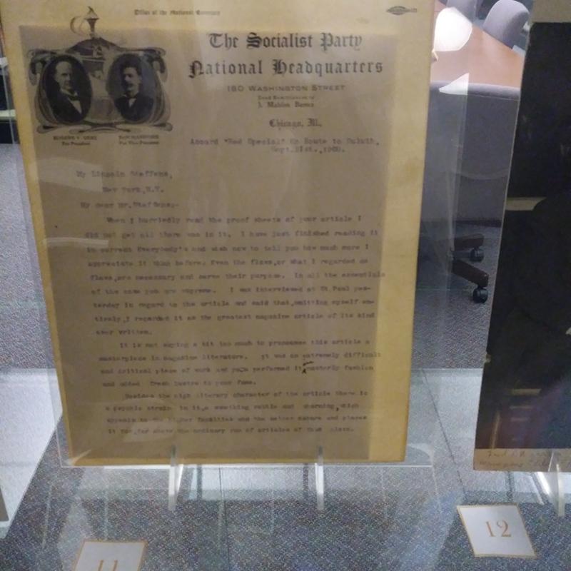 Eugene V. Debs.  Letter to Lincoln Steffens.