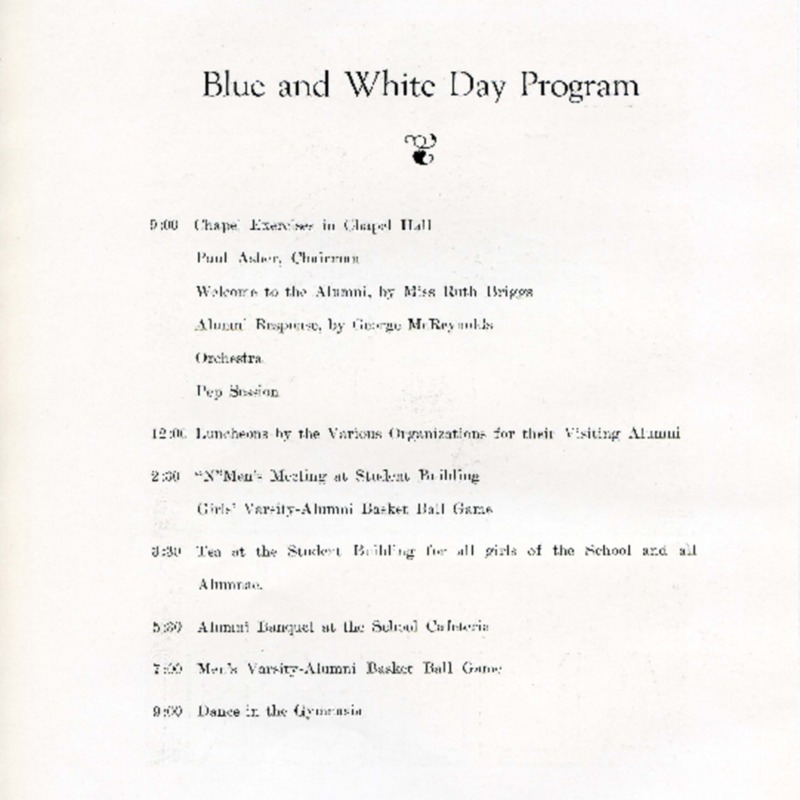 Blue and White Day Program