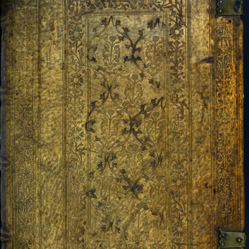 Cover, leather tooled with bosses