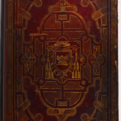 Cover, red leather with gilt