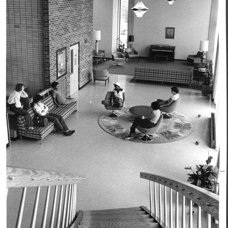 Students in Residence Hall lobby