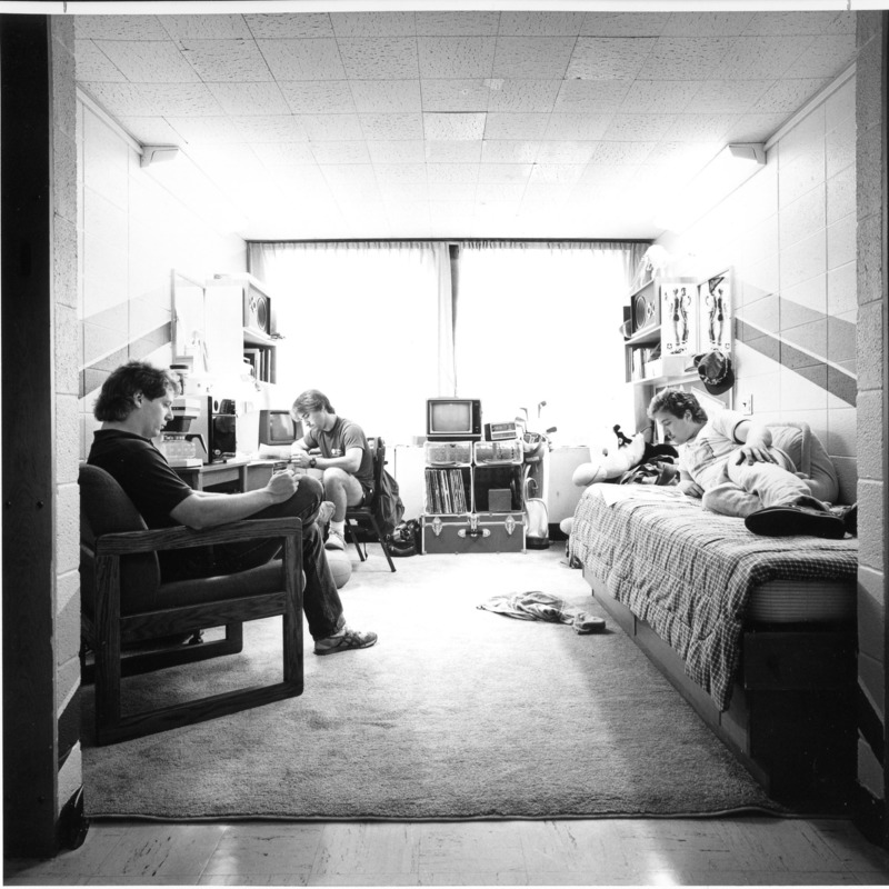 Student's reading in dorm room