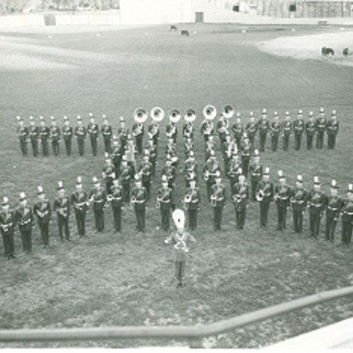 Marching band in formation, no date