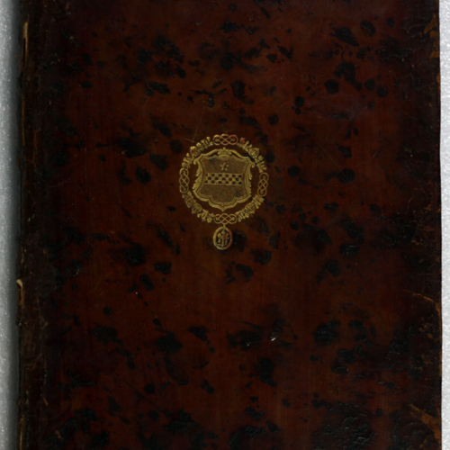 Cover, speckled leather with gilt emblem