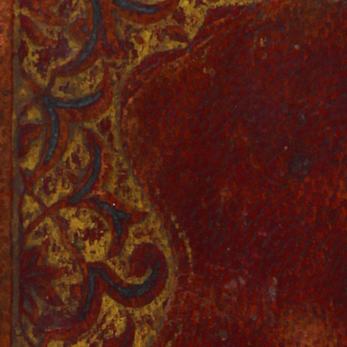 Cover, blue and gold cornerpiece on red leather