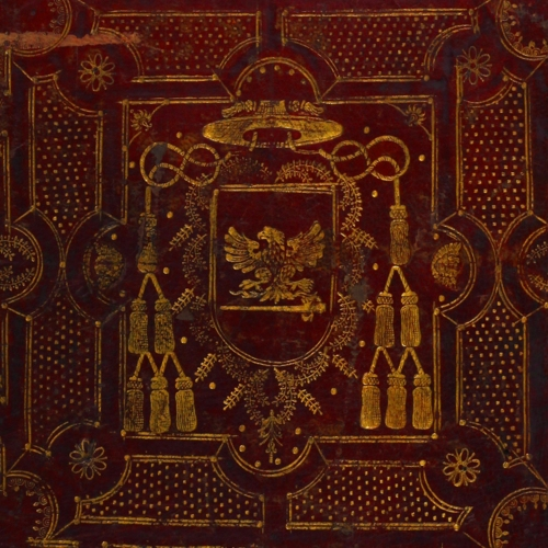 Cover, gilt center panel on red leather